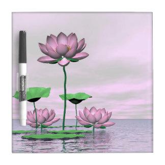 Pink waterlilies and lotus flowers - 3D render Dry Erase Board