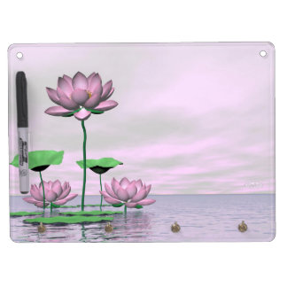 Pink waterlilies and lotus flowers - 3D render Dry Erase Board With Keychain Holder