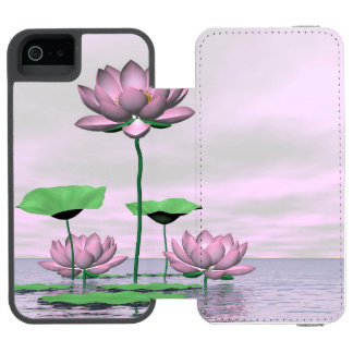 Pink waterlilies and lotus flowers - 3D render Incipio Watson™ iPhone 5 Wallet Case