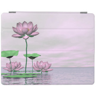Pink waterlilies and lotus flowers - 3D render iPad Cover