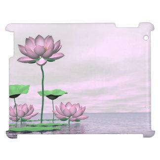 Pink waterlilies and lotus flowers - 3D render iPad Cover