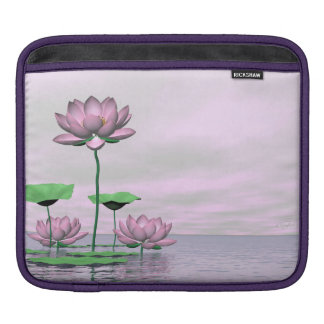 Pink waterlilies and lotus flowers - 3D render iPad Sleeve