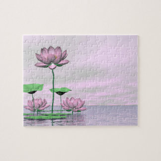 Pink waterlilies and lotus flowers - 3D render Jigsaw Puzzle
