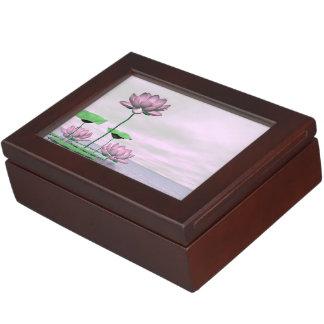 Pink waterlilies and lotus flowers - 3D render Keepsake Box