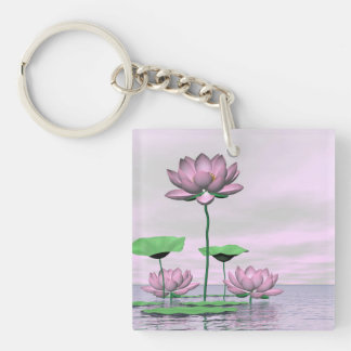 Pink waterlilies and lotus flowers - 3D render Keychain