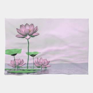 Pink waterlilies and lotus flowers - 3D render Kitchen Towel