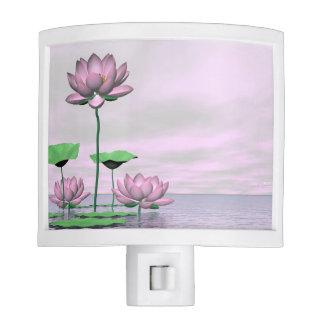 Pink waterlilies and lotus flowers - 3D render Nite Lite