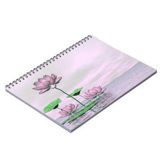 Pink waterlilies and lotus flowers - 3D render Notebook