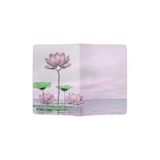 Pink waterlilies and lotus flowers - 3D render Passport Holder