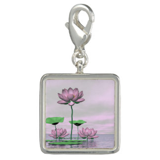 Pink waterlilies and lotus flowers - 3D render Photo Charms