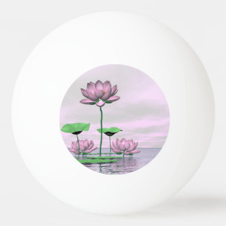 Pink waterlilies and lotus flowers - 3D render Ping Pong Ball