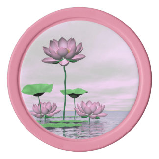 Pink waterlilies and lotus flowers - 3D render Poker Chips
