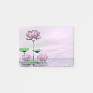 Pink waterlilies and lotus flowers - 3D render Post-it Notes