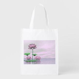 Pink waterlilies and lotus flowers - 3D render Reusable Grocery Bag