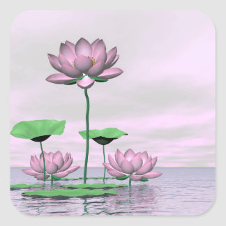 Pink waterlilies and lotus flowers - 3D render Square Sticker