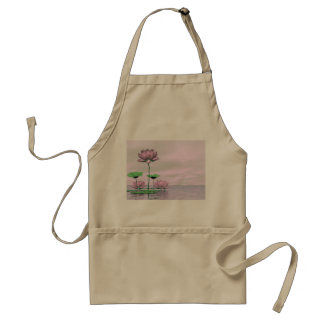 Pink waterlilies and lotus flowers - 3D render Standard Apron