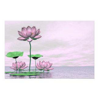Pink waterlilies and lotus flowers - 3D render Stationery