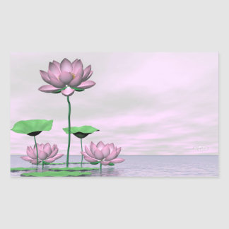 Pink waterlilies and lotus flowers - 3D render Sticker