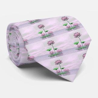 Pink waterlilies and lotus flowers - 3D render Tie