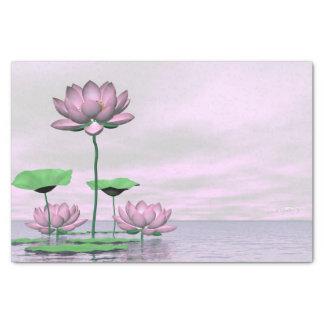 Pink waterlilies and lotus flowers - 3D render Tissue Paper