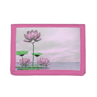 Pink waterlilies and lotus flowers - 3D render Trifold Wallet