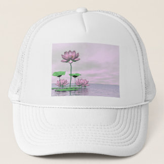 Pink waterlilies and lotus flowers - 3D render Trucker Hat