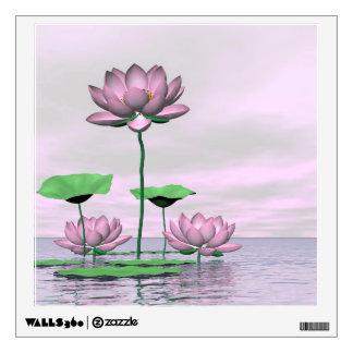 Pink waterlilies and lotus flowers - 3D render Wall Sticker