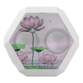 Pink waterlilies and lotus flowers - 3D render White Bluetooth Speaker