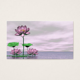 Pink waterlilies and lotus flowers business card