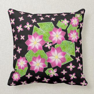 Pink Waterlilies on Black Throw Pillow