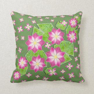 Pink Waterlilies on Moss Green Throw Pillow