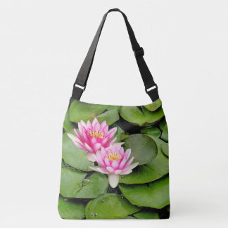 Pink Waterlily Flowers Lilypads Turtle Tote Bag
