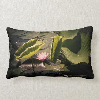 Pink waterlily lumbar pillow