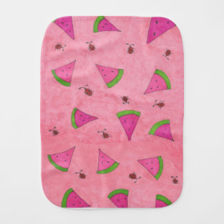 Pink Watermelon and Lady Bugs Burp Cloth