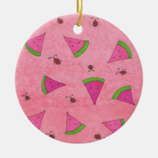 Pink Watermelon and Lady Bugs Ceramic Ornament