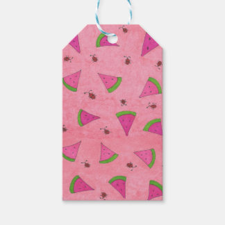 Pink Watermelon and Lady Bugs Gift Tags