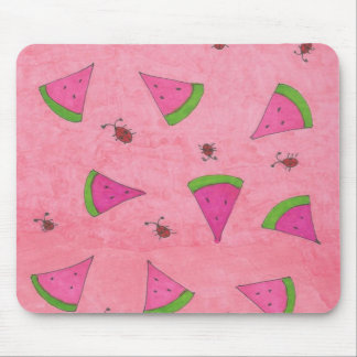 Pink Watermelon and Lady Bugs Mouse Pad