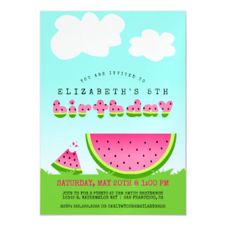 Pink Watermelon Birthday Picnic Party Magnetic Invitations