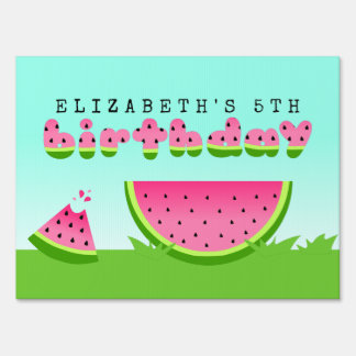 Pink Watermelon Birthday Picnic Party Sign