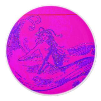 pink waveriding mermaid ceramic knob
