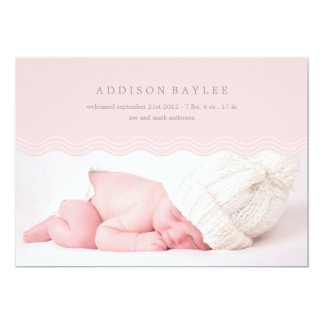 "PINK WAVES   BIRTH ANNOUNCEMENT 5"" X 7"" INVITATION CARD"