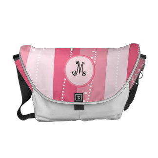 Pink Wavy Stripes with Monogram Personalized Bag Messenger Bag