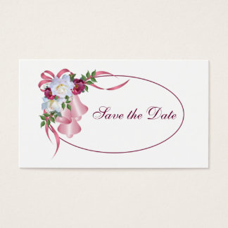 Pink Wedding Bells - Save the Date Business Card