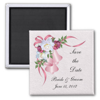 Pink Wedding Bells Save the Date Magnet