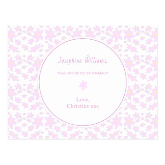 Pink Wedding Flowers - Will You Be My Bridesmaid? Postcard