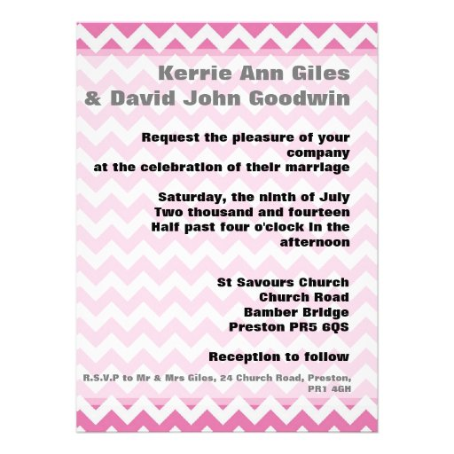 Pink Wedding Invitations - Geometric Chevron Pink