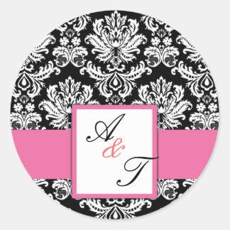 Pink Wedding Monogram Damask Seal Round Stickers