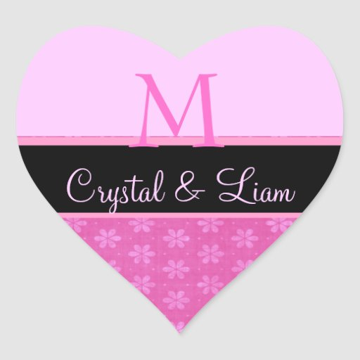 Pink Wedding Monogram Heart Sticker