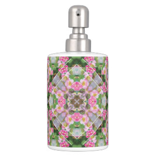Pink Wedding Quilt Toothbrush/Soap Dispenser Set