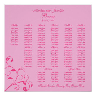 Pink Wedding Reception Guest Seating Chart Poster